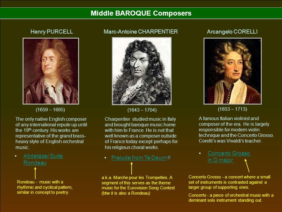 Middle BAROQUE Composers