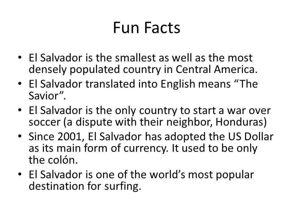 Located in central america on the pacific coast ppt for Interesting fact about america