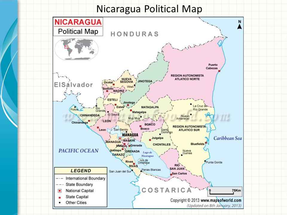 Lets Take A Trip To Central America Ppt Download - Political map of nicaragua