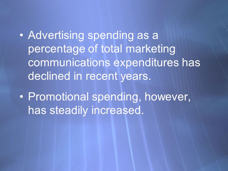 Advertising spending as a percentage of total marketing communications expenditures has declined in recent years.