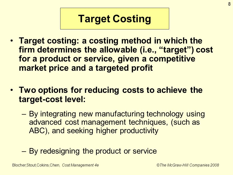 the target costing approach marketing essay Free essay: article 32 target costing for new-product development: productlevel target costing robin cooper and regine slagmulder editors' note: this article.