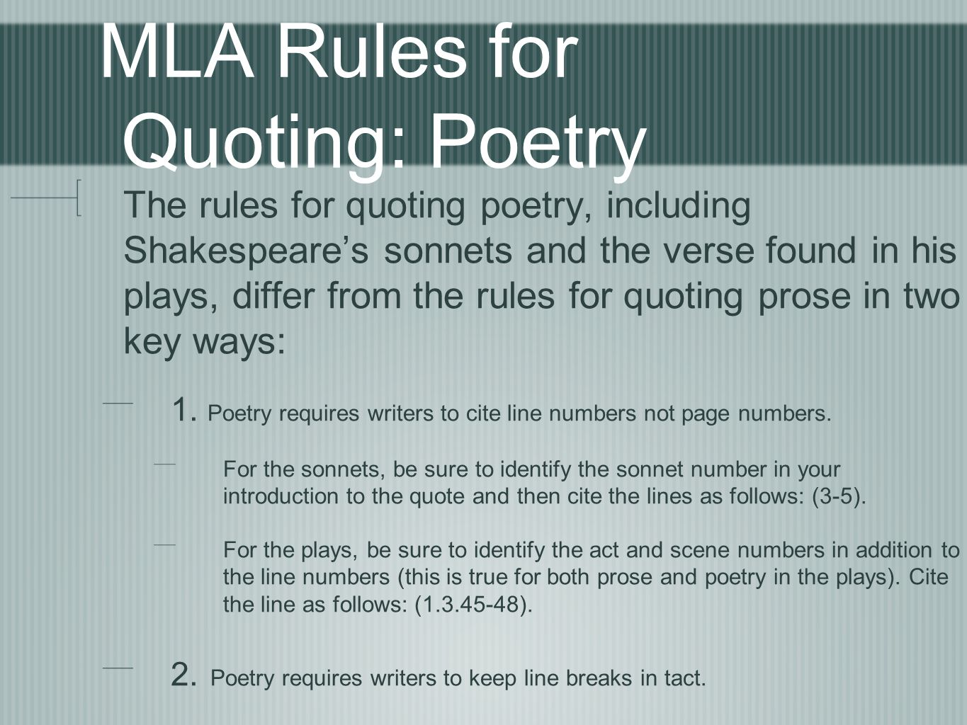 quoting essays mla Quoting literature: basic mla rules prepared by dr mira sakrajda, professor, english department number to help the reader of your essay locate the quote.
