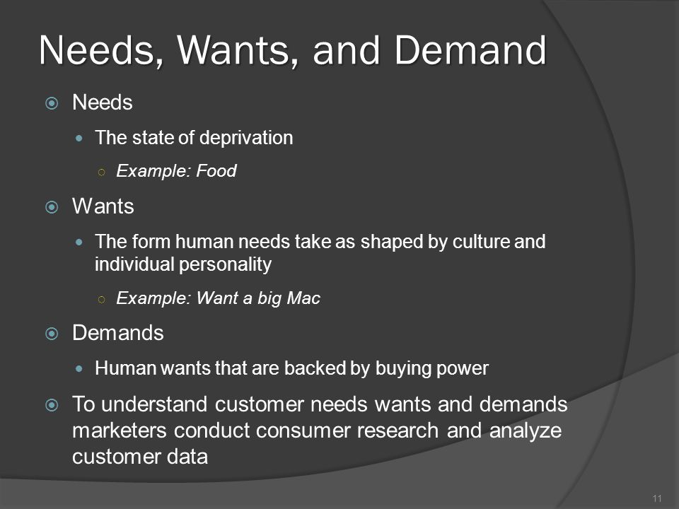 needs wants and consumerism Food marketers understand needs, wants, and demands of consumers for food efforts to improve health qualities of our food supply must account for this.