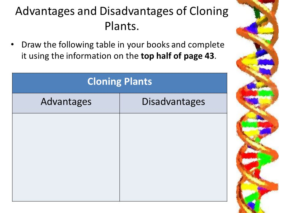 advantages and disadvantages of cloning Cloning is a process that creates new life by copying the cell data of a living host the cell data is gathered from the host and then implanted into an embryo, which.
