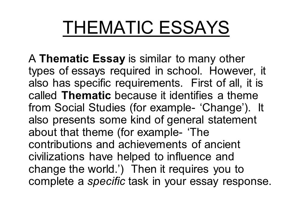 theme writing essay The different parts of the essay have been labeled the thesis statement is in bold, the topic sentences are in italics, and each main point is underlined when you write your own essay, of course, you will not need to mark these parts of the essay unless your teacher has asked you to do so.