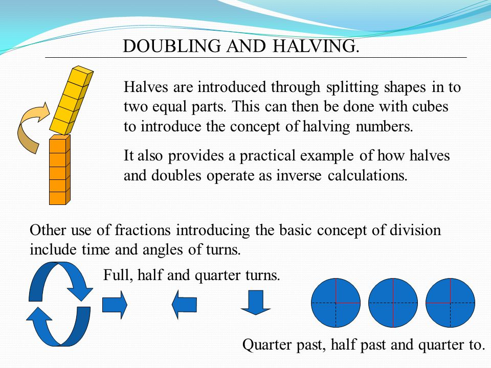 DOUBLING AND HALVING.