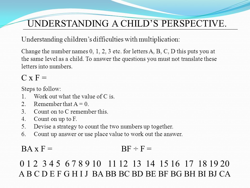UNDERSTANDING A CHILD'S PERSPECTIVE.