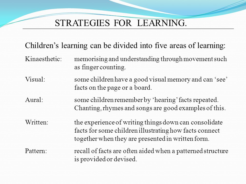 STRATEGIES FOR LEARNING.