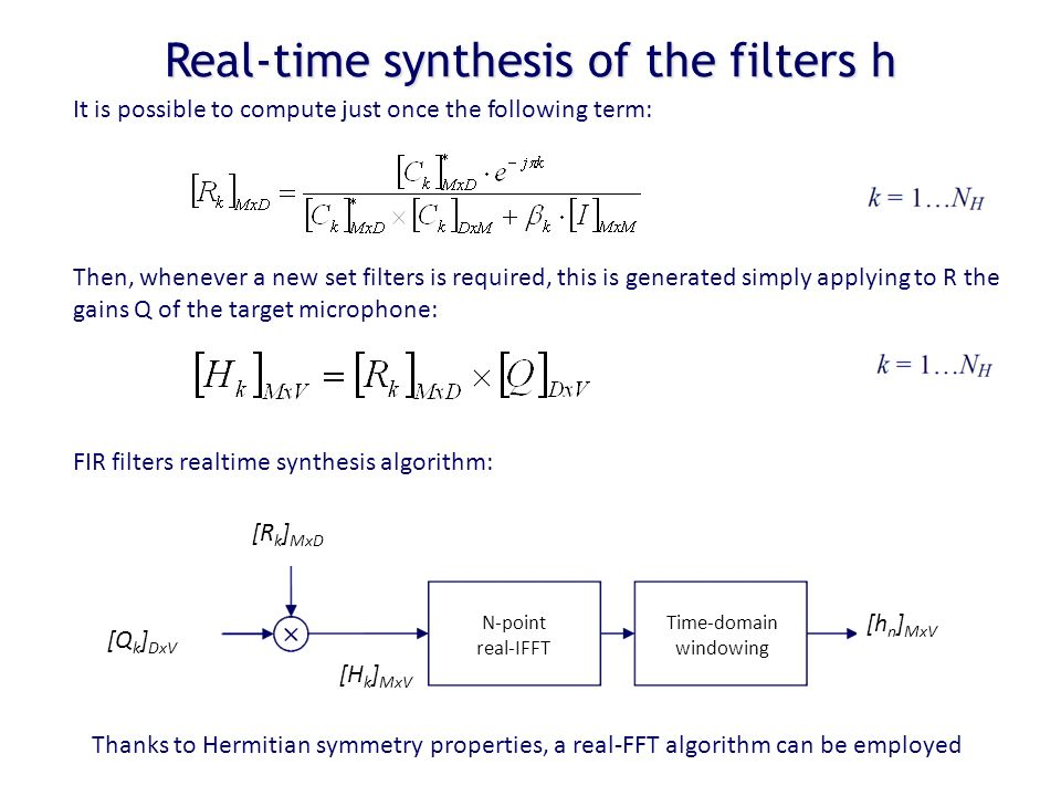 Real-time synthesis of the filters h