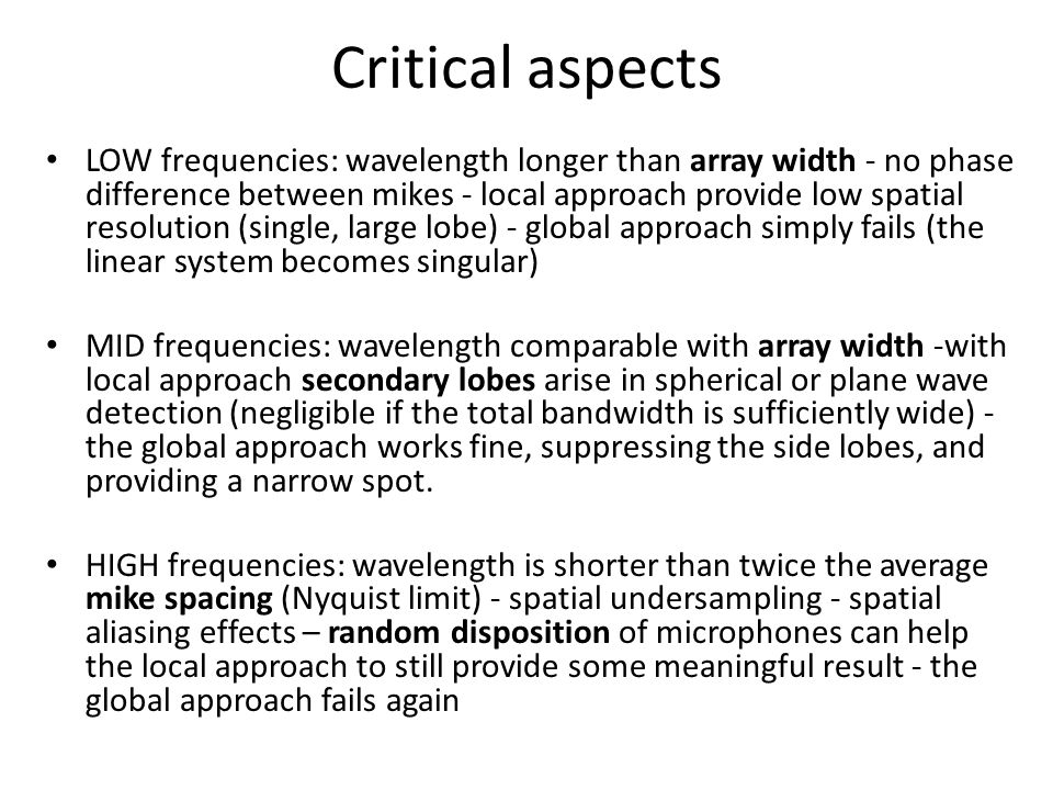 Critical aspects