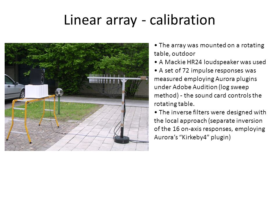 Linear array - calibration