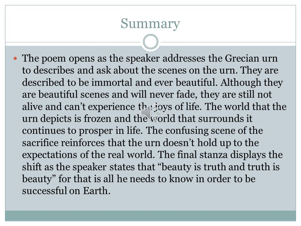 Line-by-Line Discussion of John Keats' Ode on a Grecian Urn