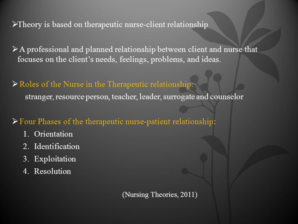 nurse client therapeutic relationship phases romantic