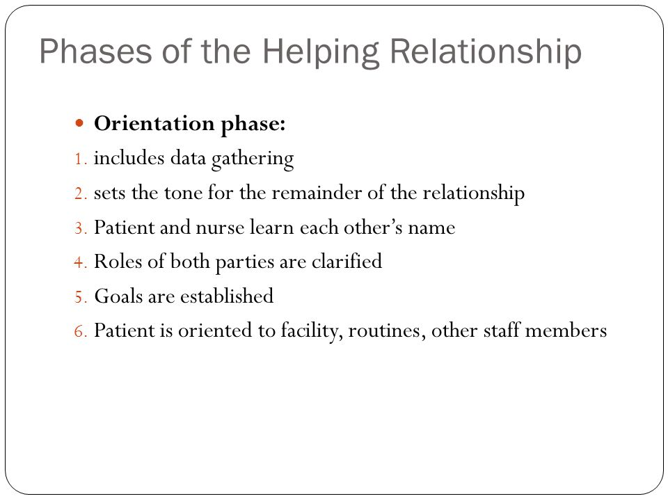two phases of the helping relationship
