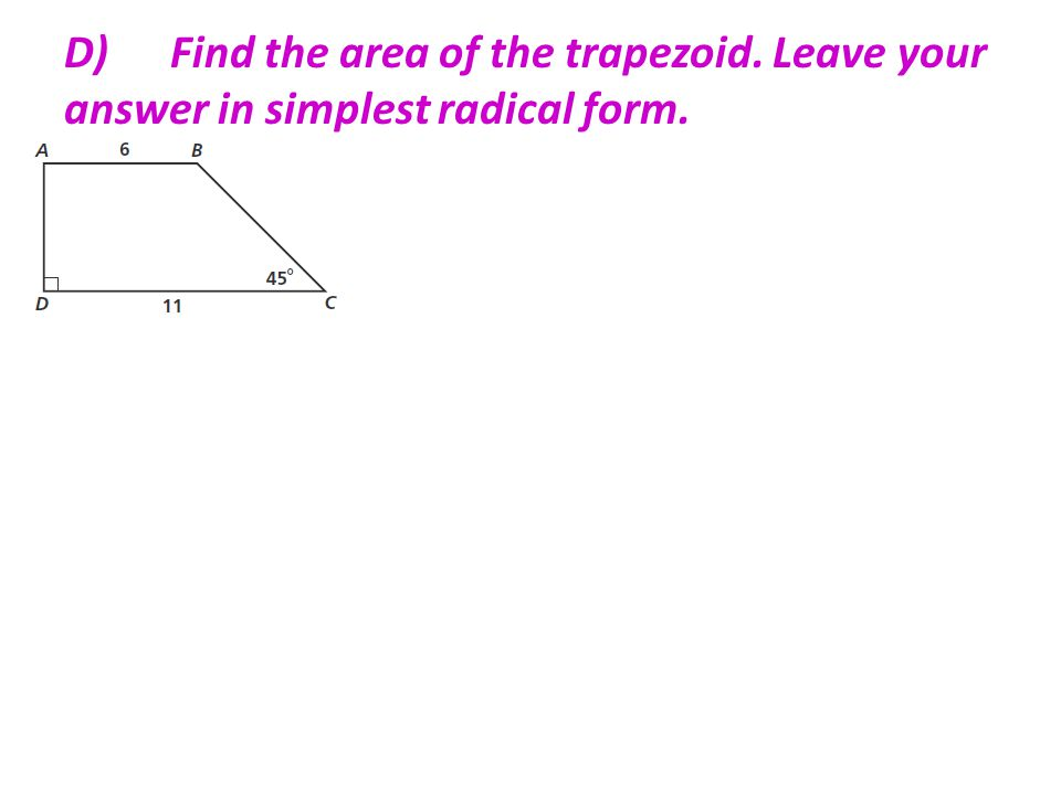 Section 7 –4 Area of Trapezoids, Rhombuses, & Kites - ppt video ...