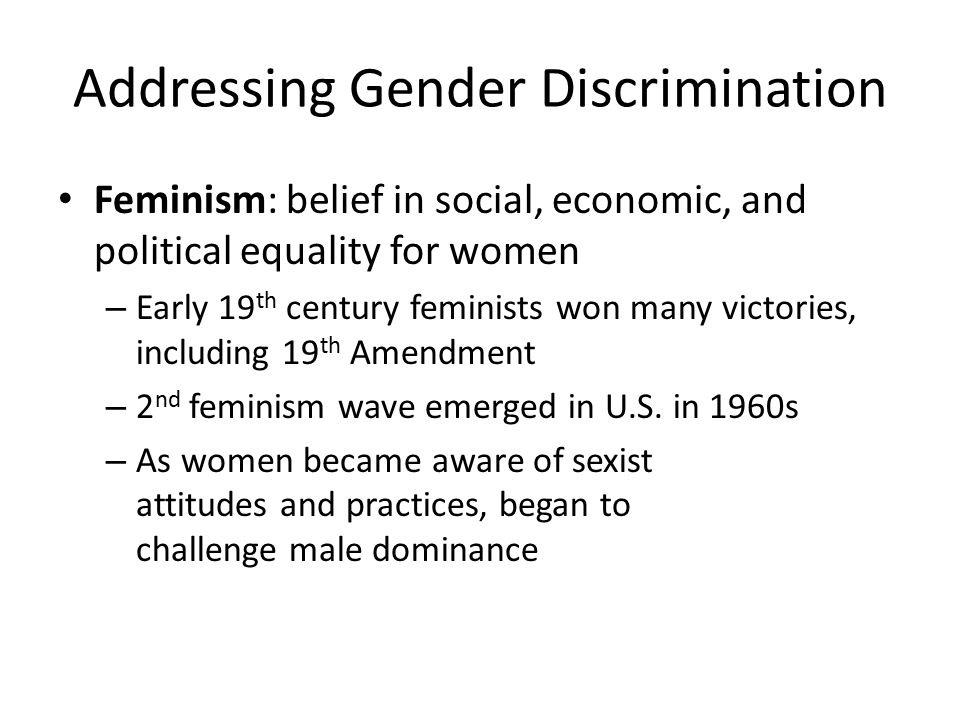 Addressing Gender Discrimination