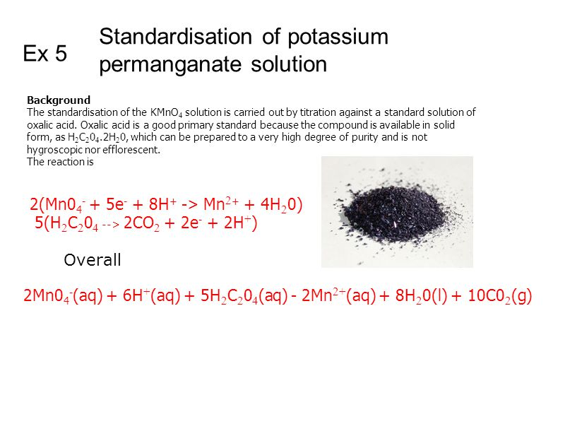 standardization of potassium permanganate essays Lab report on volumetric determination of iron with potassium permanganate principle: this experiment consists of titrating the ferrous ion with permanganate ion to.