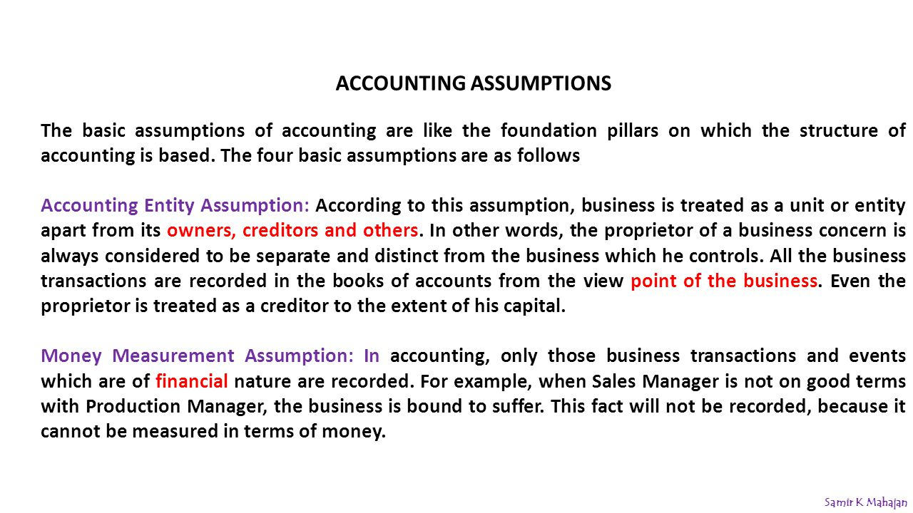 accounting assumption Gaap attempts to standardize and regulate the definitions, assumptions, and  methods used in accounting this helps companies prepare consistent financial.