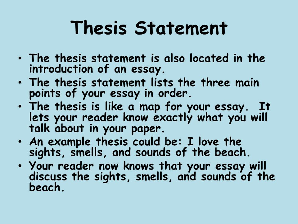 Where a thesis statement is located