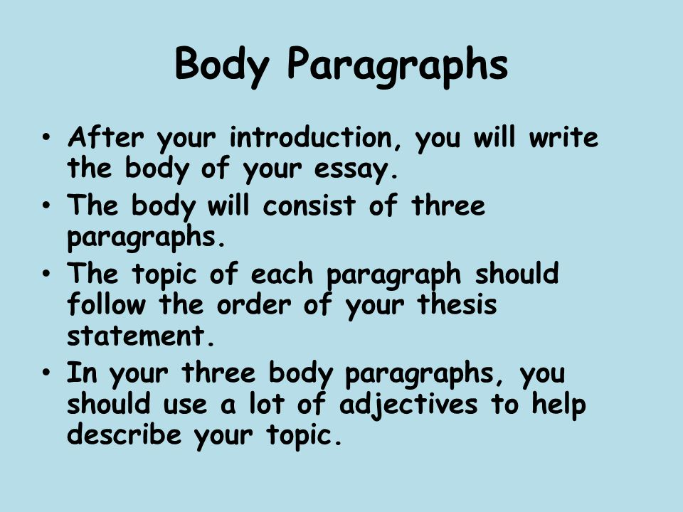 writing narrative body paragraphs Paragraph writing is the foundation of all essay writing, whether the form is expository, persuasive, narrative, or creative in order to write a good paragraph, students need to understand the four essential elements of paragraph writing and how each element contributes to the whole.