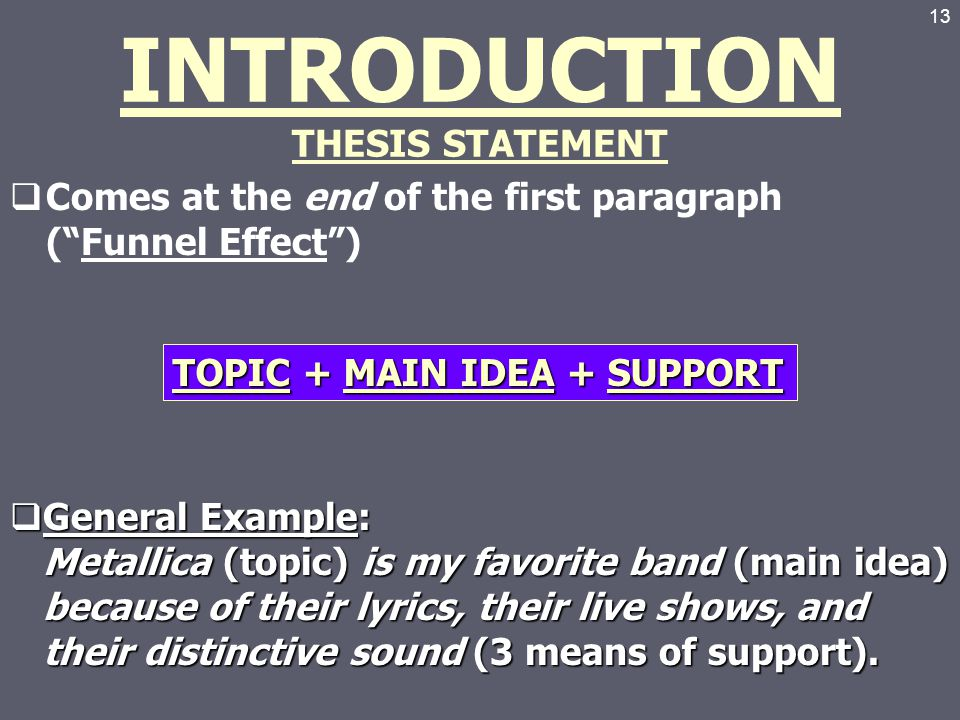 funnel method thesis statement Thesis statement without too much of an abrupt jump between hook and the  specifics of your paper) 3 give your thesis statement (what your paper will  explain.