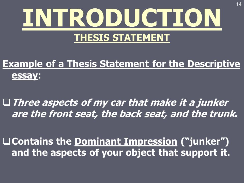 "introduction to a thesis statement The thesis statement is the center around which the rest of your paper revolves it  is a  college writing center resource ""introductions and thesis statements."