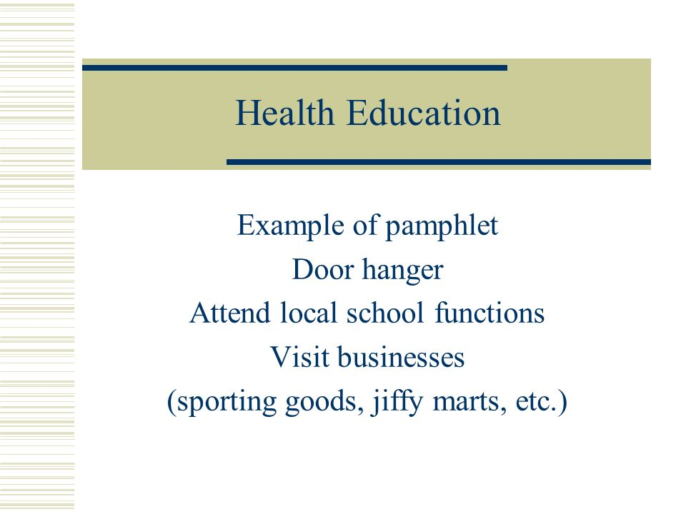 Health Education Example of pamphlet Door hanger