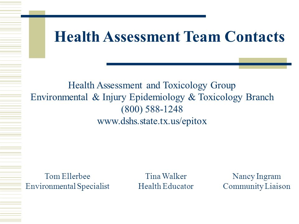 Health Assessment Team Contacts