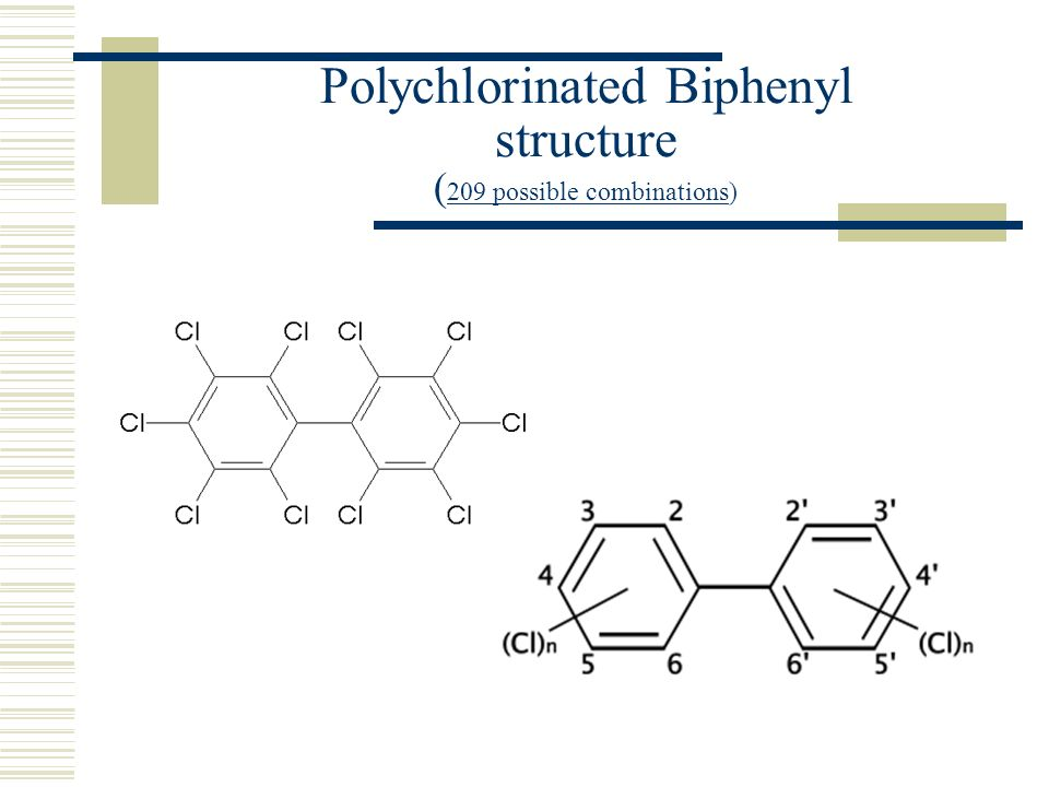 Polychlorinated Biphenyl structure (209 possible combinations)
