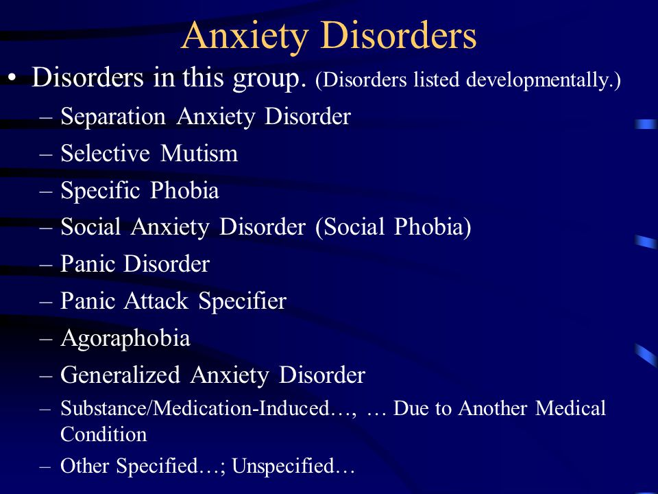 Adult anxiety disorder in separation