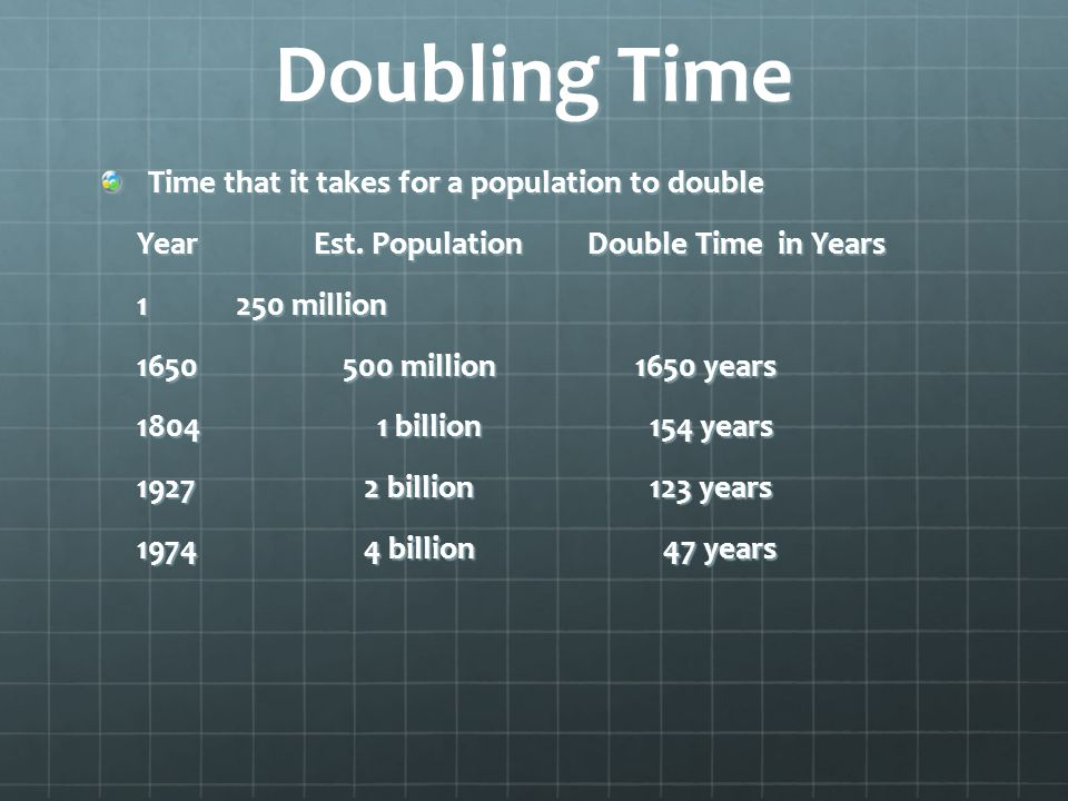 Doubling Time Time that it takes for a population to double