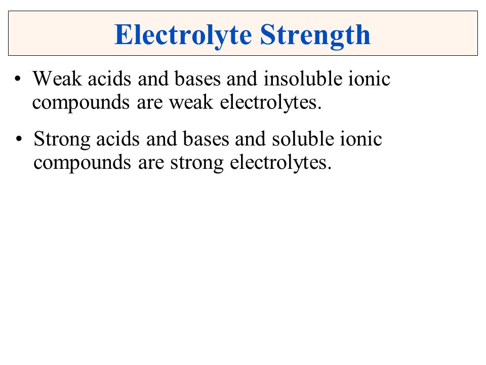Electrolyte Strength Weak acids and bases and insoluble ionic compounds are weak electrolytes.