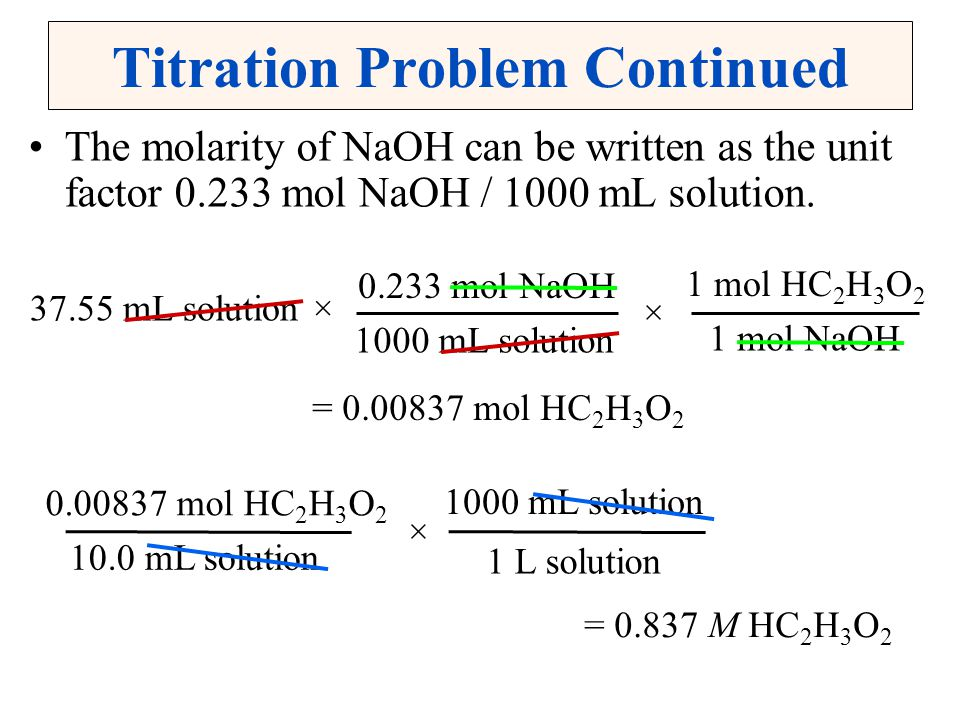 Titration Problem Continued