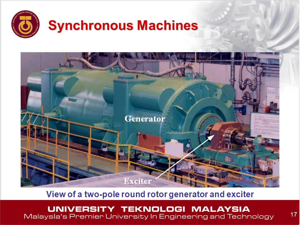 Synchronous Machines View of a two-pole round rotor generator and exciter