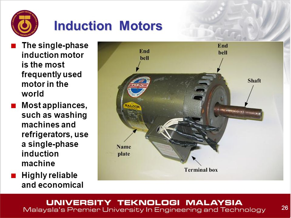 Induction Motors The single-phase induction motor is the most frequently used motor in the world.