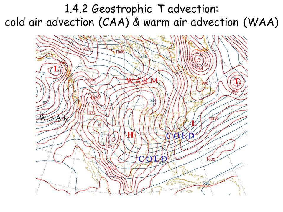 1.4.2 Geostrophic T advection: cold air advection (CAA) & warm air advection (WAA)
