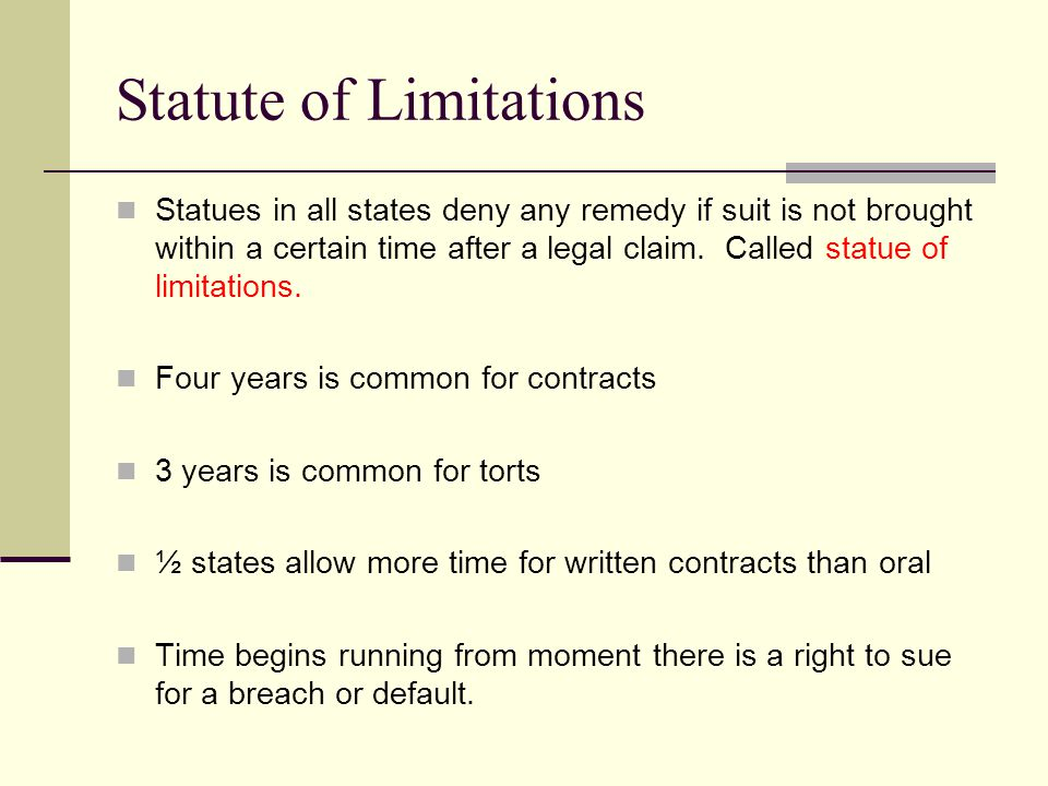 Statute of Limitations for a Breach of Contract