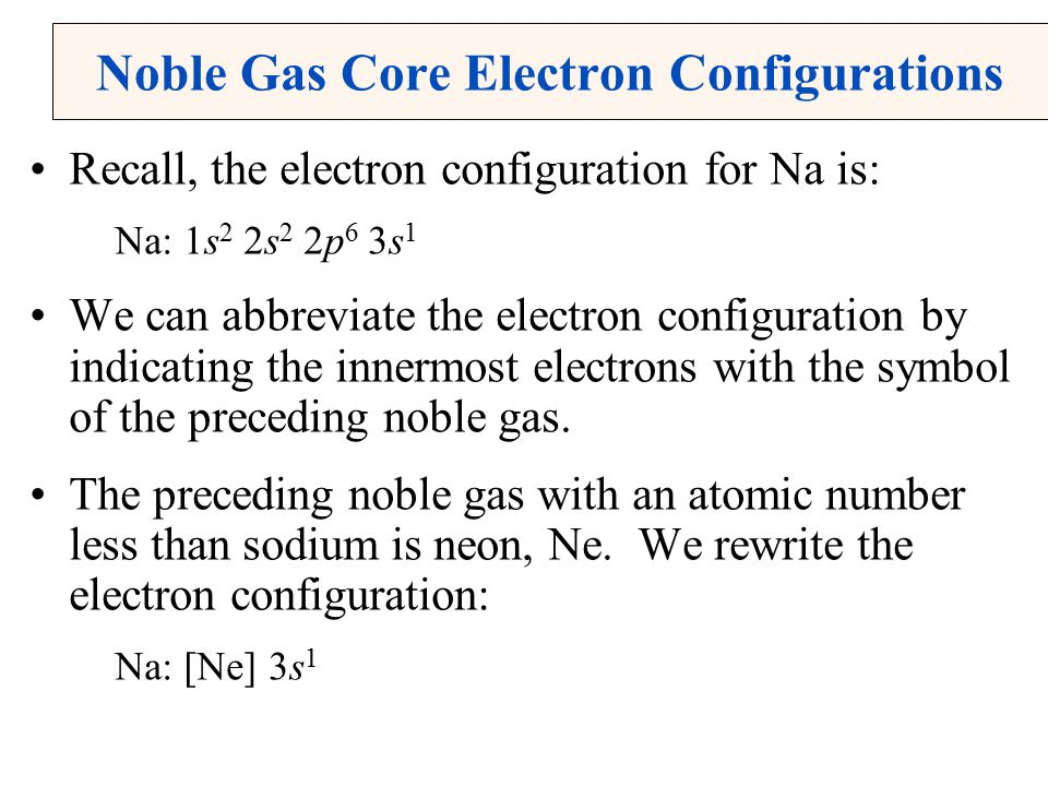 Noble Gas Core Electron Configurations