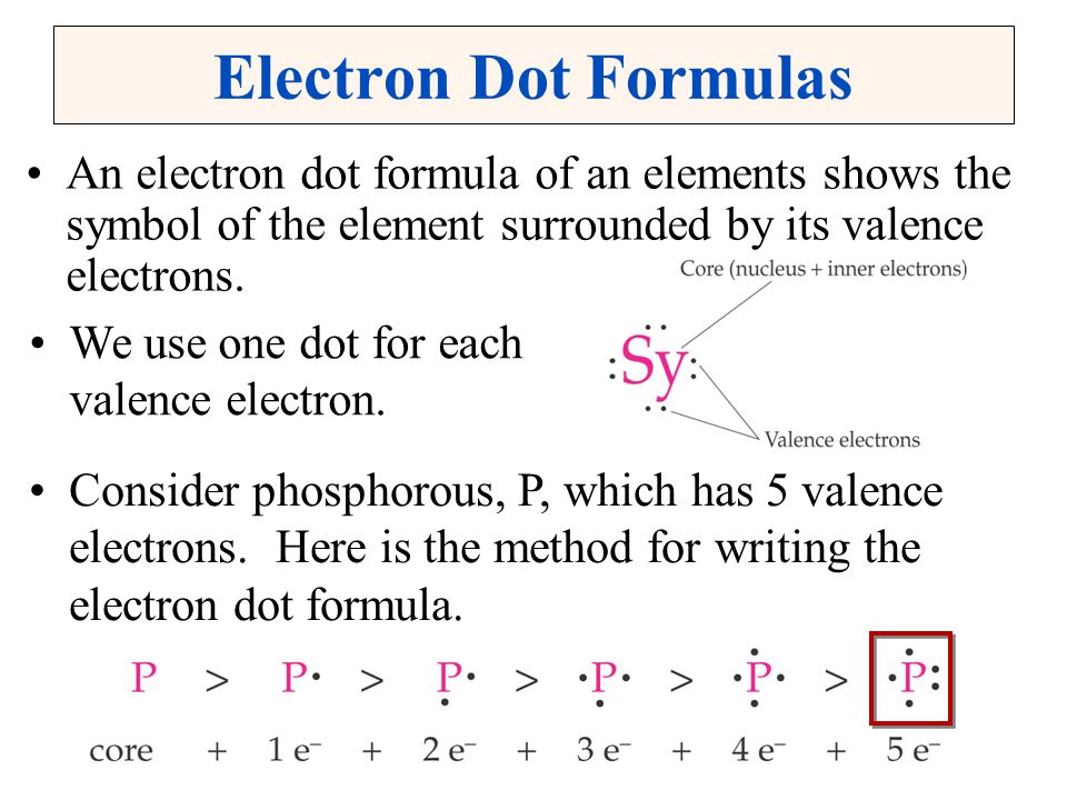 Electron Dot Formulas An electron dot formula of an elements shows the symbol of the element surrounded by its valence electrons.