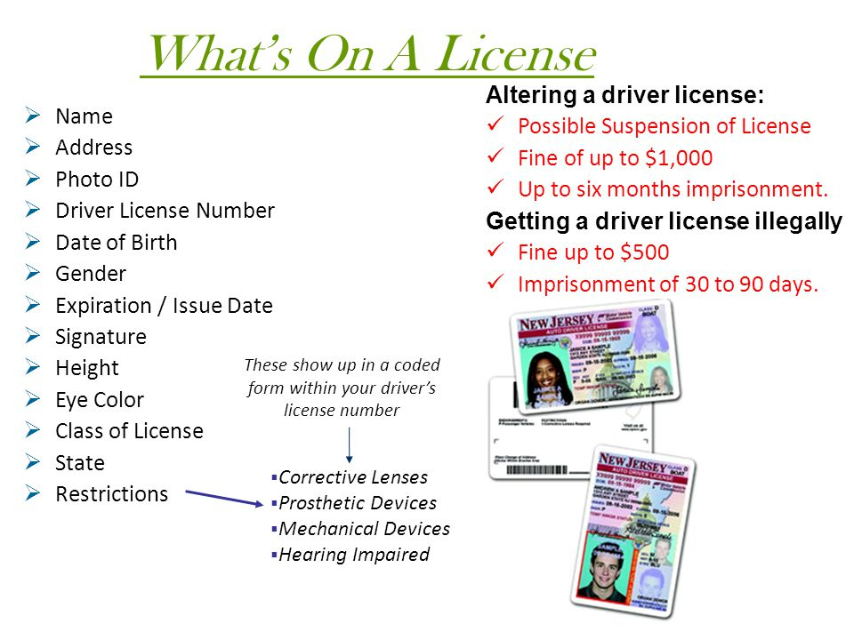 These show up in a coded form within your driver's license number