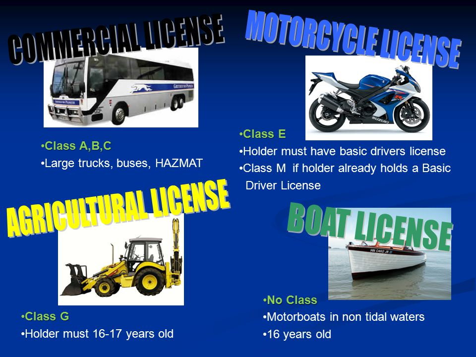 MOTORCYCLE LICENSE COMMERCIAL LICENSE AGRICULTURAL LICENSE