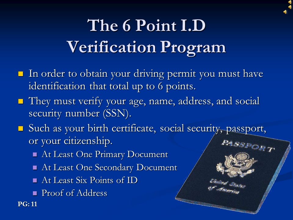 The 6 Point I.D Verification Program