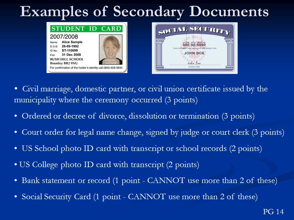 Examples of Secondary Documents