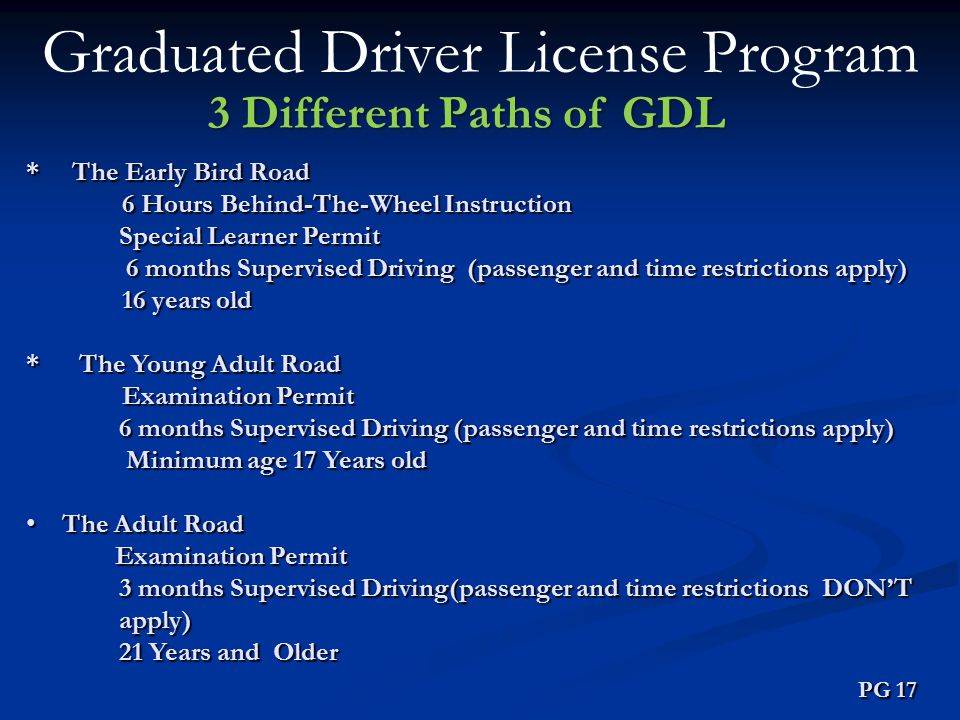 Graduated Driver License Program