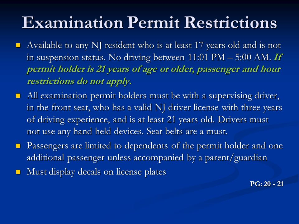 Examination Permit Restrictions