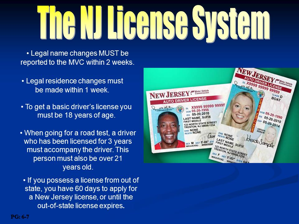 The NJ License System Legal name changes MUST be reported to the MVC within 2 weeks.