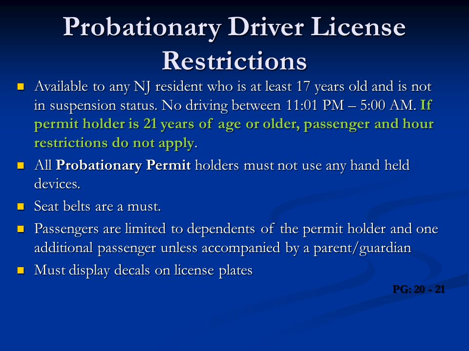 Probationary Driver License Restrictions