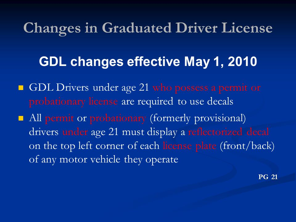 Changes in Graduated Driver License