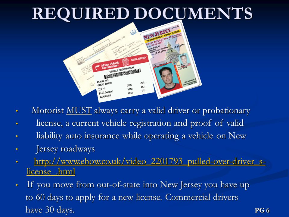 REQUIRED DOCUMENTS Motorist MUST always carry a valid driver or probationary. license, a current vehicle registration and proof of valid.