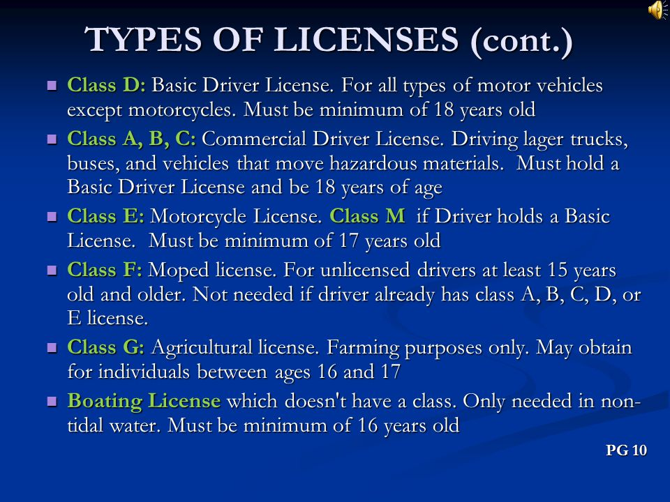 TYPES OF LICENSES (cont.)